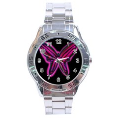 Purple neon butterfly Stainless Steel Analogue Watch