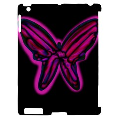 Purple neon butterfly Apple iPad 2 Hardshell Case (Compatible with Smart Cover)