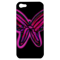 Purple neon butterfly Apple iPhone 5 Hardshell Case