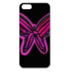 Purple neon butterfly Apple Seamless iPhone 5 Case (Clear)