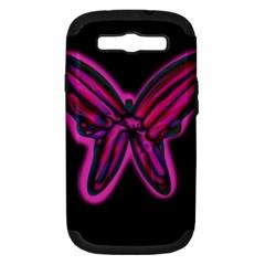 Purple neon butterfly Samsung Galaxy S III Hardshell Case (PC+Silicone)