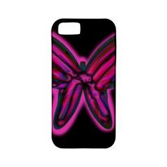 Purple neon butterfly Apple iPhone 5 Classic Hardshell Case (PC+Silicone)