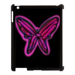Purple neon butterfly Apple iPad 3/4 Case (Black)