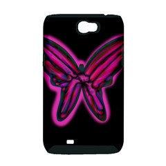 Purple neon butterfly Samsung Galaxy Note 2 Hardshell Case (PC+Silicone)
