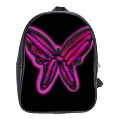 Purple neon butterfly School Bags (XL)