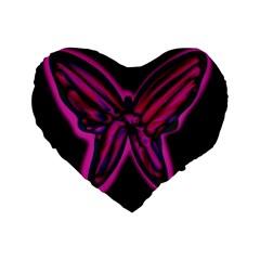 Purple neon butterfly Standard 16  Premium Heart Shape Cushions