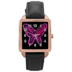 Purple neon butterfly Rose Gold Leather Watch