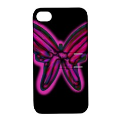 Purple neon butterfly Apple iPhone 4/4S Hardshell Case with Stand