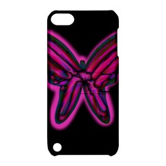 Purple neon butterfly Apple iPod Touch 5 Hardshell Case with Stand