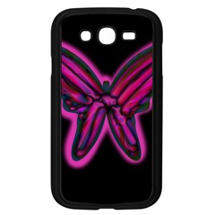 Purple neon butterfly Samsung Galaxy Grand DUOS I9082 Case (Black)