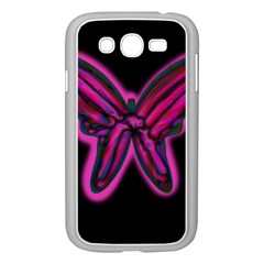 Purple neon butterfly Samsung Galaxy Grand DUOS I9082 Case (White)