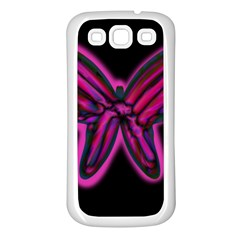 Purple neon butterfly Samsung Galaxy S3 Back Case (White)