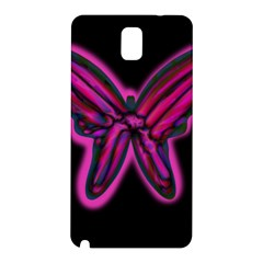 Purple neon butterfly Samsung Galaxy Note 3 N9005 Hardshell Back Case