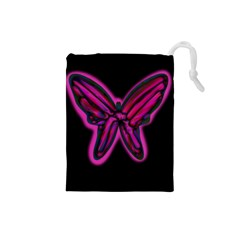 Purple neon butterfly Drawstring Pouches (Small)