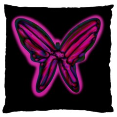 Purple neon butterfly Large Flano Cushion Case (One Side)