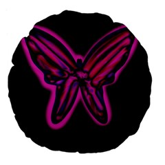 Purple neon butterfly Large 18  Premium Flano Round Cushions