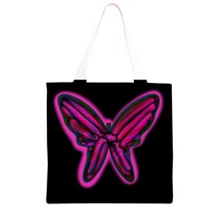 Purple neon butterfly Grocery Light Tote Bag