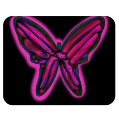Purple neon butterfly Double Sided Flano Blanket (Medium)
