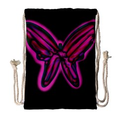 Purple neon butterfly Drawstring Bag (Large)
