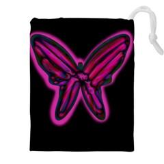 Purple Neon Butterfly Drawstring Pouches (xxl)