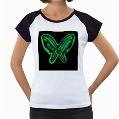 Green neon butterfly Women s Cap Sleeve T