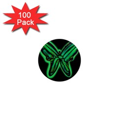 Green neon butterfly 1  Mini Magnets (100 pack)