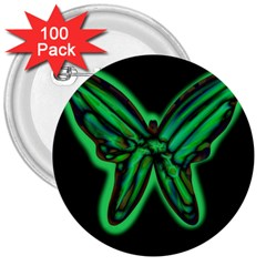 Green neon butterfly 3  Buttons (100 pack)
