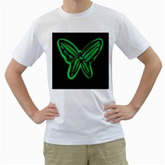 Green neon butterfly Men s T-Shirt (White) (Two Sided)