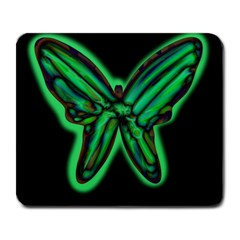 Green neon butterfly Large Mousepads