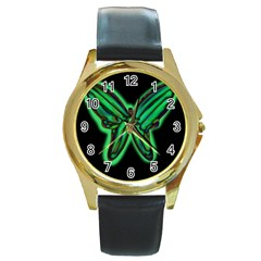 Green neon butterfly Round Gold Metal Watch