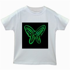 Green neon butterfly Kids White T-Shirts