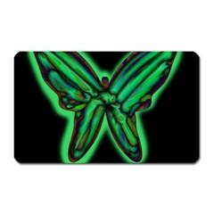 Green neon butterfly Magnet (Rectangular)
