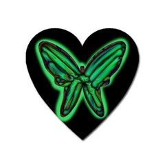 Green Neon Butterfly Heart Magnet