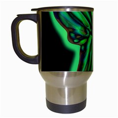 Green neon butterfly Travel Mugs (White)