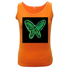 Green neon butterfly Women s Dark Tank Top