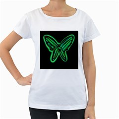 Green neon butterfly Women s Loose-Fit T-Shirt (White)