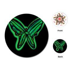 Green neon butterfly Playing Cards (Round)