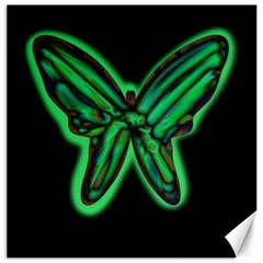 Green neon butterfly Canvas 16  x 16