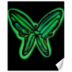 Green neon butterfly Canvas 16  x 20