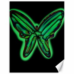 Green neon butterfly Canvas 18  x 24