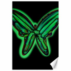 Green neon butterfly Canvas 20  x 30