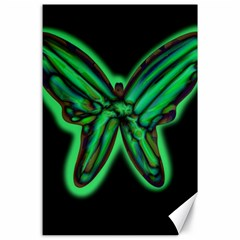 Green neon butterfly Canvas 24  x 36