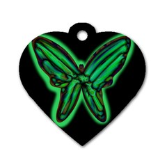 Green neon butterfly Dog Tag Heart (One Side)