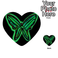 Green neon butterfly Multi-purpose Cards (Heart)