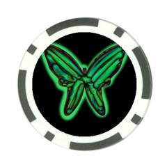 Green neon butterfly Poker Chip Card Guards (10 pack)