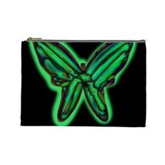 Green neon butterfly Cosmetic Bag (Large)