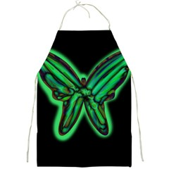 Green neon butterfly Full Print Aprons