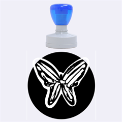 Green neon butterfly Rubber Round Stamps (Large)