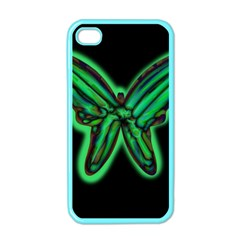 Green neon butterfly Apple iPhone 4 Case (Color)