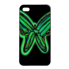 Green neon butterfly Apple iPhone 4/4s Seamless Case (Black)